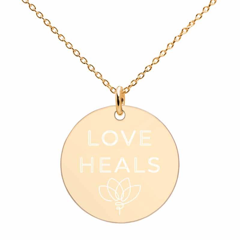 Closeup Love Heals Necklace in Gold
