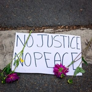 No Justice No Peace sign