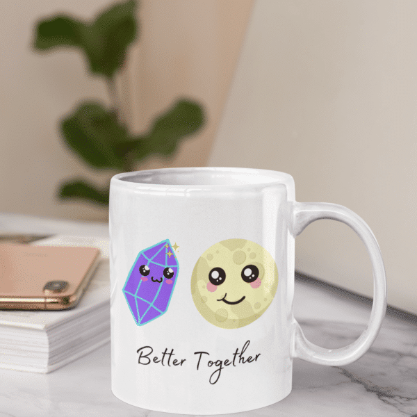 Better Together Full Moon and crystal Mug on displayed on table