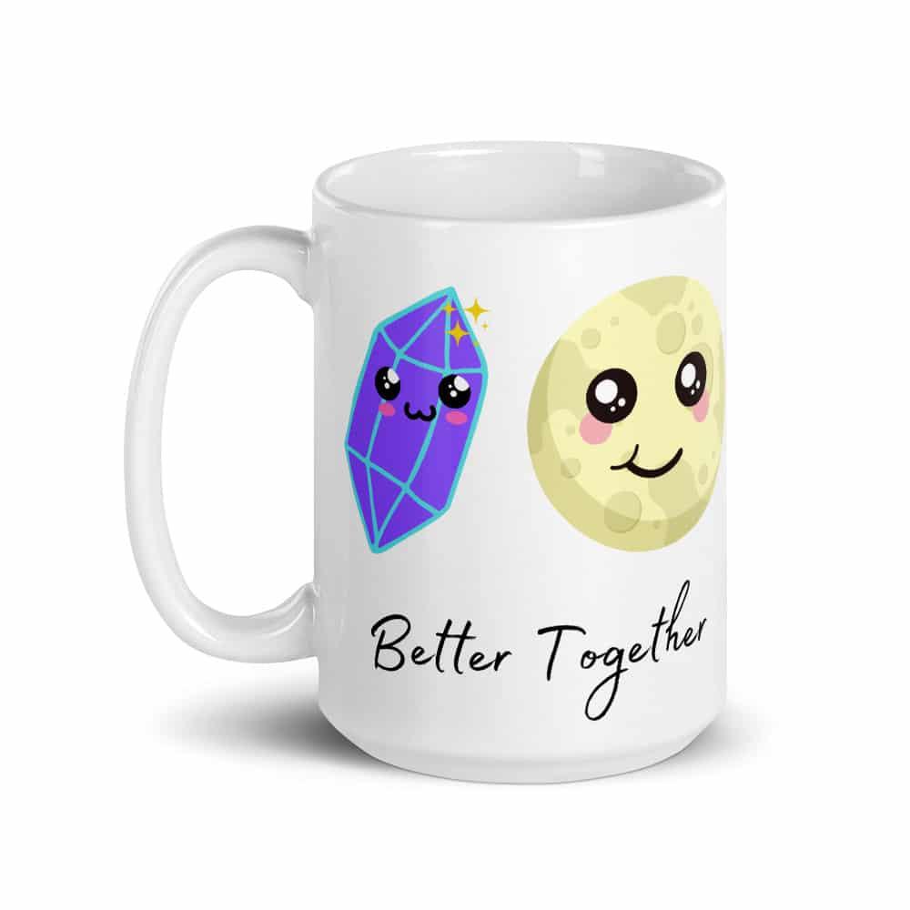 15 ounce mug with purple crystal and full moon with Kawaii smiles.