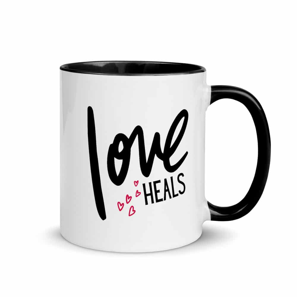 Love Heals Mug with Pink Hearts