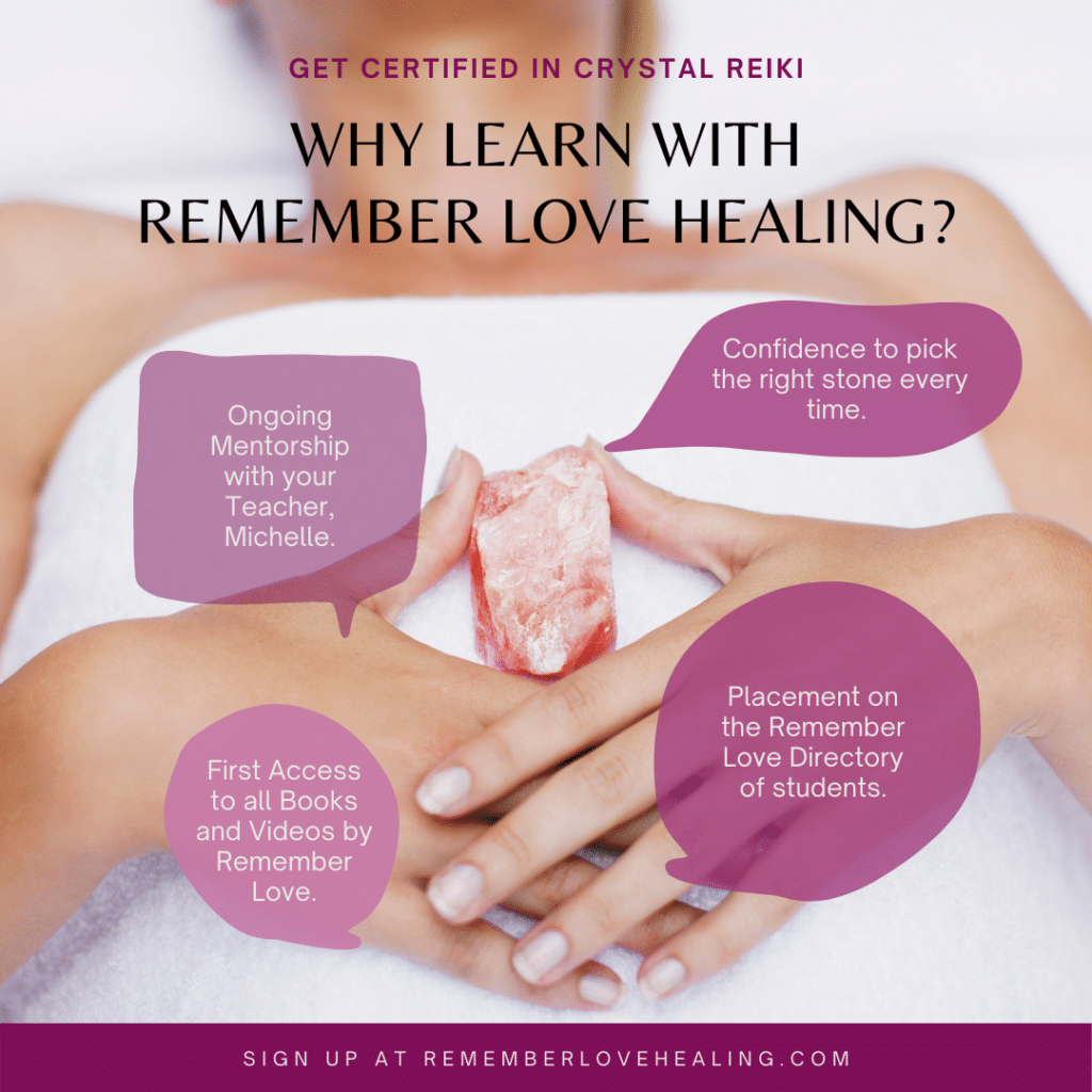 Learn crystal Reiki online with Remember Healing. Continuing Mentor ship.